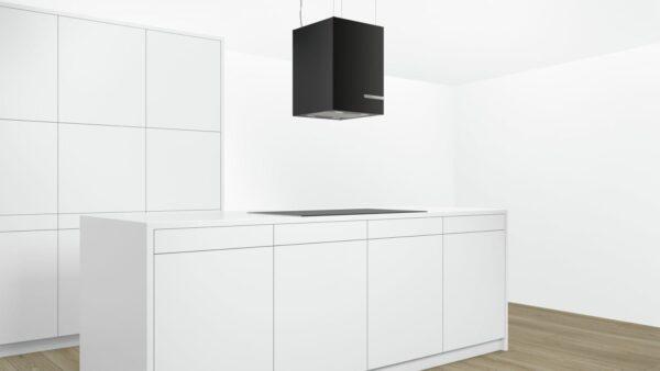 Hota Bosch DII31JM60, Insula, 37 cm510 m³/h Intensiv, Afisaj digital cu TouchControl, Front sticla neagra, Design cub