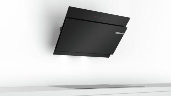 Hota Bosch DWK98JQ60, absorbtie periferica, 840 mc/h Intensiv, TouchControl, 1 motor, 90 cm, Sticla neagra