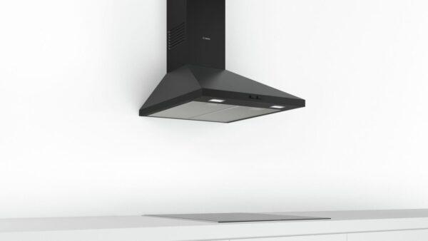 Hota Bosch Serie 2 DWP64BC60, Semineu conica, 60 cm, max 360 m3/h, Taste push, 3 trepte de putere, Neagra
