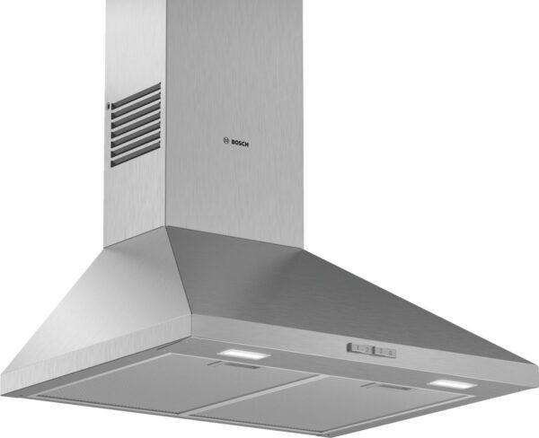 Hota Bosch Serie 2 DWP66BC50, Semineu conica, 60 cm, max 570 m3/h, Taste push, 3 trepte de putere, Inox