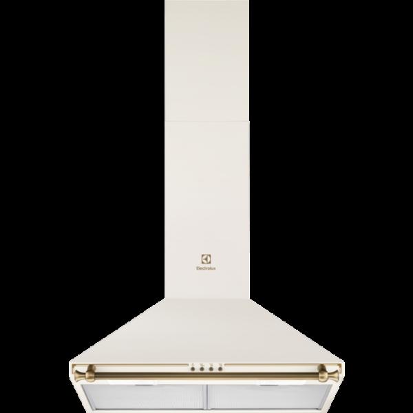 Hota semineu conica Electrolux EFC226V, Putere de absorbtie - 420 mc/h, 1 motor, 3 viteze, 2 filtre de aluminiu lavabile, 60 cm, Design rustic, Galben vanilie
