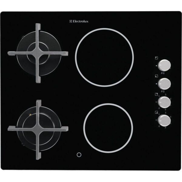 Plita incorporabila Electrolux EGE6172NOK , Mixta; 4 zone de gatit (2 zone gaz si 2 zone vitroceramice); Aprindere electrica integrata; Control cu butoane lateral; Dispozitiv siguranta;Gratare de fonta; 60 cm; Neagra