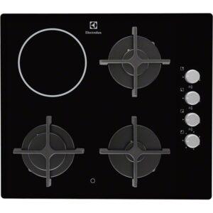 Plita incorporabila Electrolux EGE6182NOK , Mixta; 4 zone de gatit (3 zone gaz si 1 zona vitroceramica); Aprindere electrica integrata; Control cu butoane lateral; Dispozitiv siguranta;Gratare de fonta; 60 cm; Neagra