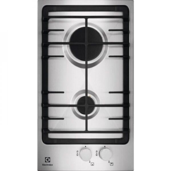 Plita incorporabila Electrolux Domino EGG3322NVX, 2 arzatoare gaz, Aprindere electrica integrata, Gratar de fonta, 30 cm, Inox