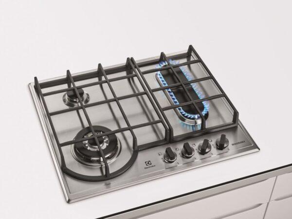 Plita incorporabila Electrolux BridgeBurner EGH6349BOX, 4 Arzatoare gaz, WOK, Aprindere electrica integrata, Gratare de fonta, 60 cm, Inox