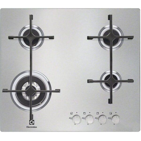 Plita incorporabila Electrolux EGS6648NOX , 4 arzatoare pe gaz, Arzator tripla coroana, Gratare fonta, 60 cm, Inox