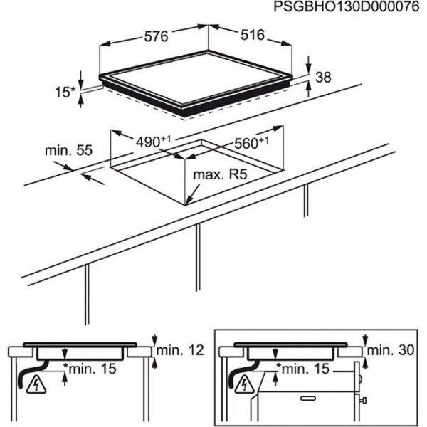 Plita incorporabila Electrolux EHF6240XXK, Vitroceramica; 4 zone de gatit; Control touch; Rama inox XL; 60 cm; Neagra