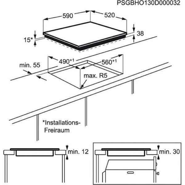 Plita incorporabila Electrolux EHF6343FOK , Vitroceramica; 4 zone de gatit (1 zona dubla si 1 zona tripla ); Control touch; 60 cm; Neagra