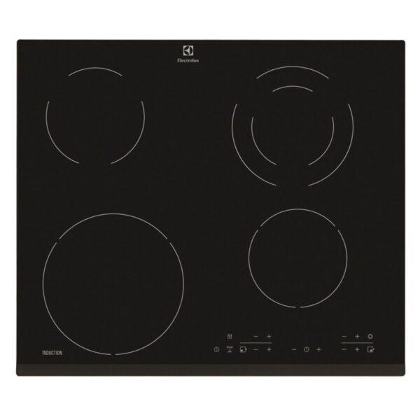 Plita incorporabila Electrolux Combi EHG46341FK, 4 zone (2 inductie 2 electrice), Circuit dublu rotund, 59 cm, Sticla neagra