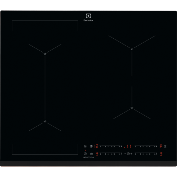 Plita incorporabila cu inductie Electrolux EIS62449, 4 zone de gatit, Control touch, Detectare vase, Conectivitate hota, Timer, Child lock, 60 cm, Negru