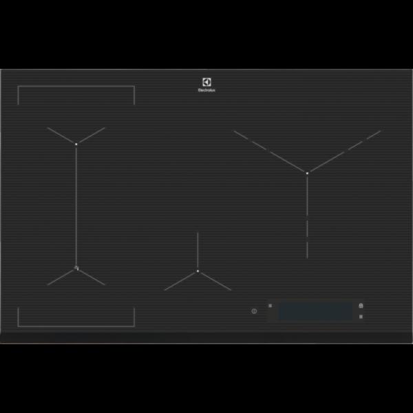 Plita incorporabila Electrolux EIS84486, 5 Arzatoare, Control touch, Left Bridge, 78 cm, Sticla neagra