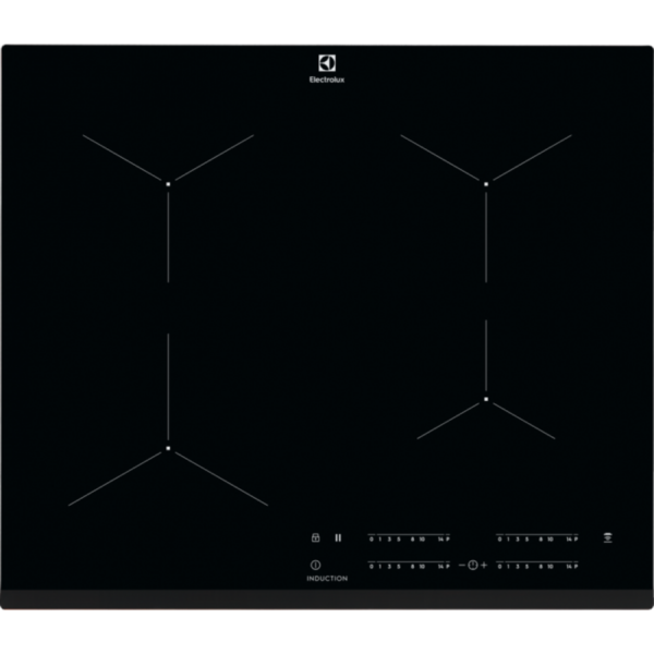 Plita incorporabila Electrolux EIT61443B, Inductie, 4 Arzatoare, Bridge, Control touch, 60 cm, Sticla neagra