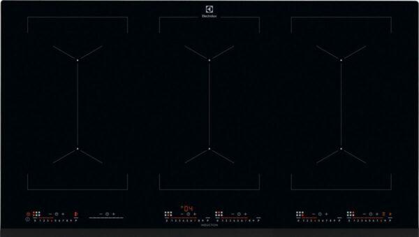 Plita incorporabila Electrolux EIV9467, Inductie, 6 Arzatoare, Control touch, Bridge, 90 cm, Sticla neagra