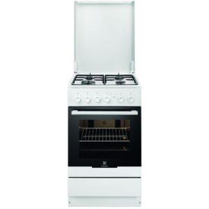 Aragaz Electrolux EKG51154OW, Gaz, 4 Arzatoare, Aprindere integrata plita si cuptor, Grill, Rotisor, 50x60 cm, Alb