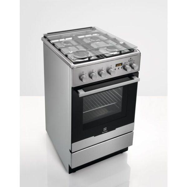 Aragaz Electrolux EKK54955OX 50x60 cm, Mixt, 4 arzatoare gaz, Gratare fonta, Cuptor electric multifunctional (11 functii) Plus Steam -gatire cu abur, Grill electric, 57 l, Inox
