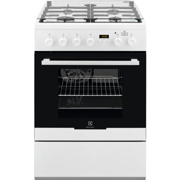 Aragaz mixt Electrolux EKK64982OW, 4 arzatoare gaz, cuptor electric, 58 l, 60x60 cm, display, alb