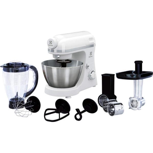 Robot de bucatarie Electrolux EKM3710, 800 W, Bol inox 4,1 l, Masina de tocat, Blender, Alb