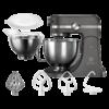 Robot de bucatarie Electrolux Assistent EKM5540, 1200 W, 10 viteze, Boluri inox 2.9/4.8 L, Lumina LED, Capace protectie, Tel, Accesoriu framantare, Mineral Charcoal/Inox