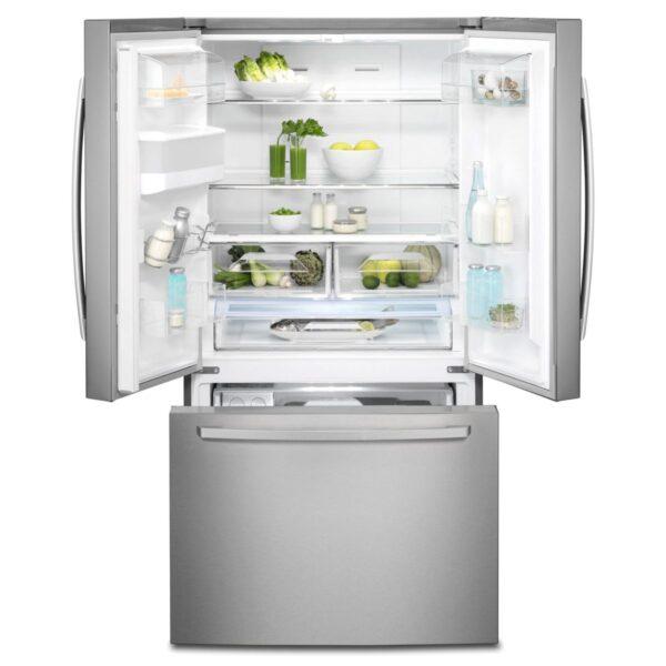Frigider side by side Electrolux EN6086JOX, No frost, 536 l, Dozator de apa pe usa, Afisaj LCD pe usa Touch control, Clasa A+, 177x91x77 cm, Inox antiamprenta