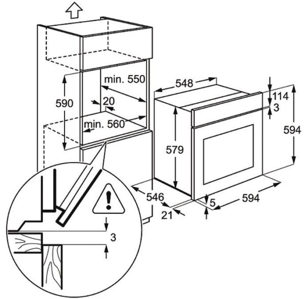 Cuptor incorporabil Electrolux EOA3450AOX, Multifunctional, 8 functii, 74l, Catalitic, Inox