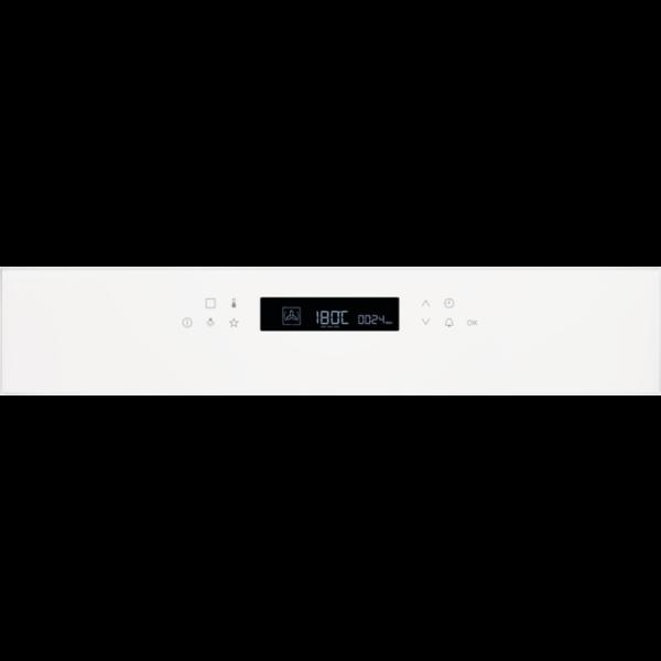 Cuptor incorporabil multifunctional Electrolux EOE7C31V, Electric, 72 L, 11 functii, SenseCook, Autocuratare catalitica, 9 programe automate, Afisaj digital, Control touch, Grill, Convectie; Clasa eficienta energetica A+, Sonda temperatura, Panel frontal de sticla, Alb