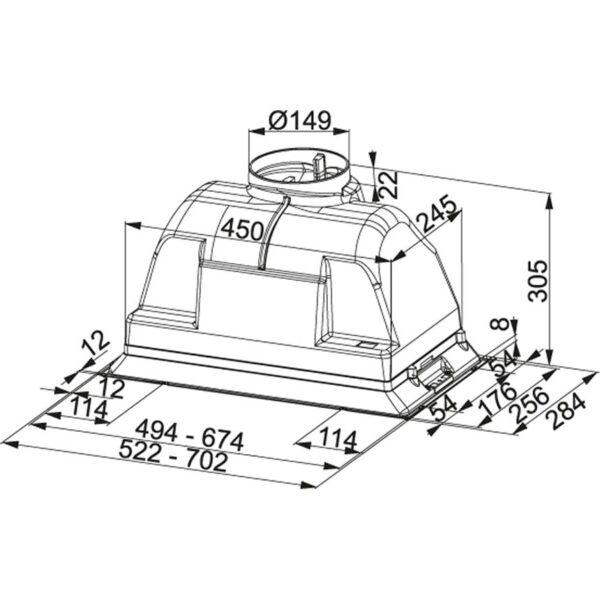 Hota Franke Box - FBI 702-H XS Inox Satinat, Caseta incorporata, 505 m3/h, 72 cm
