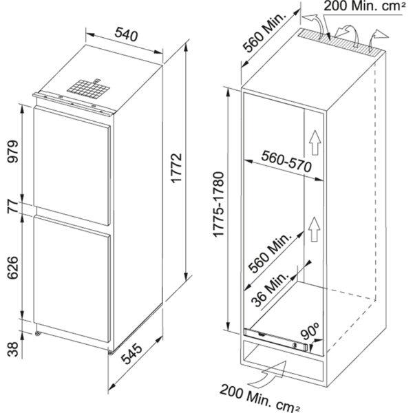 Combina frigorifica incorporabila Franke 118.0524.539 FCB 320 NR MS A+, 331 l, Static, Clasa A+, Alb