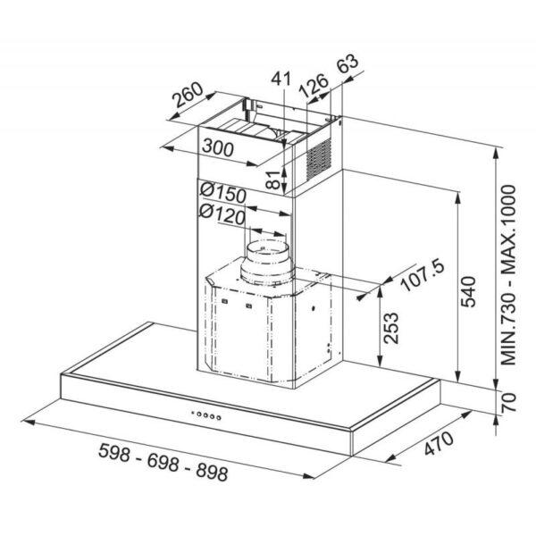 Hota Franke Format 70 - FDF 6457 XS Inox Satinat, Semineu dreapta, 510 m3h, 60 cm