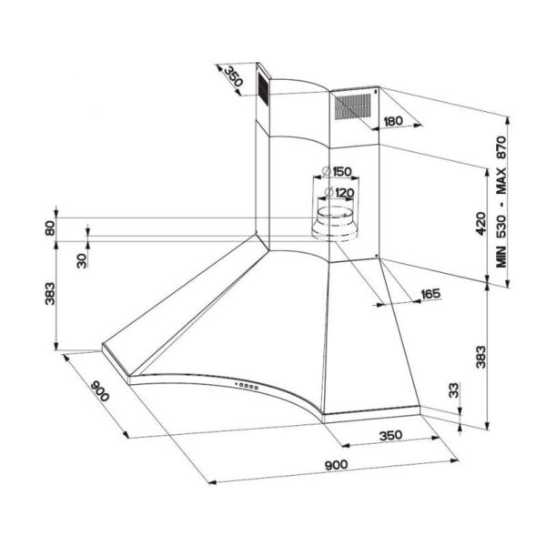 Hota Franke Design Plus - FDPA 904 XS Corner Inox Satinat, Decorativa colt, 620 m3/h, 90 cm
