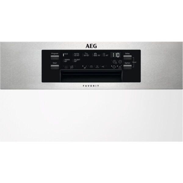 Masina de spalat vase AEG FEE63400PM, Partial incorporabila, 45 cm, 9 seturi, 7 programe, ProClean, AirDry, Motor Inverter, Display electronic, Clasa A+++, Inox