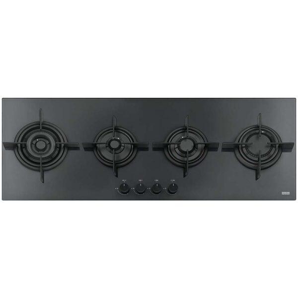 Plita incorporabila Franke Crystal Black FHCR 1204 3G TC HE BK C, 4 arzatoare gaz, 118 x 41 cm, Gratare fonta, Sticla neagra