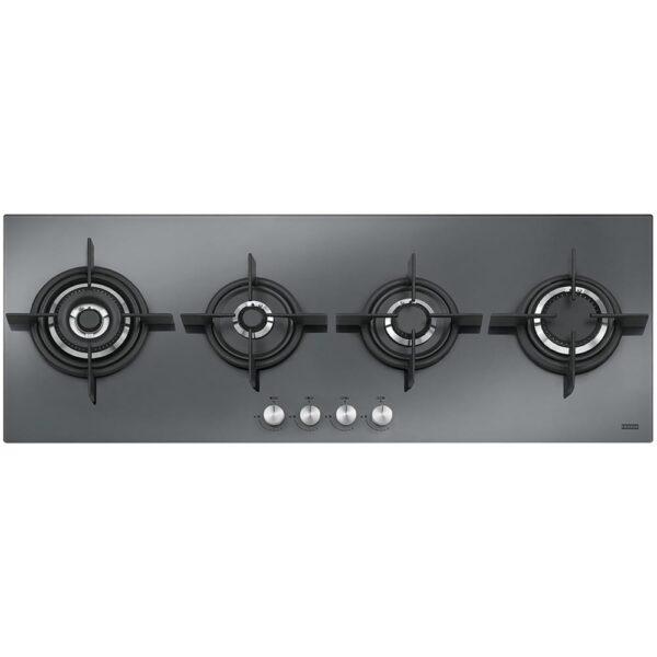 Plita incorporabila Franke Crystal Steel FHCR 1204 3G TC HE XS C, 4 arzatoare gaz, 118 x 41 cm, Gratare fonta, Mirror/Oglinda