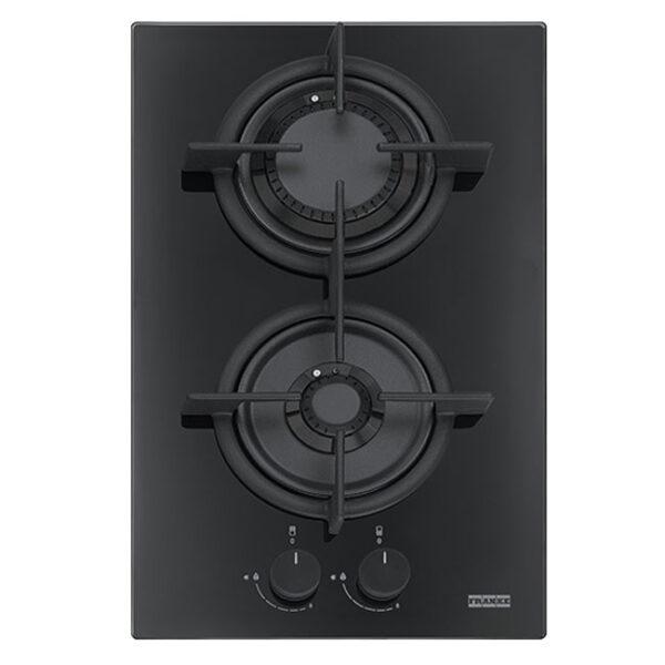 Plita incorporabila Franke Crystal Black FHCR 302 2G HE BK C, 2 arzatoare gaz, 31 x 51 cm, Gratare fonta, Sticla neagra