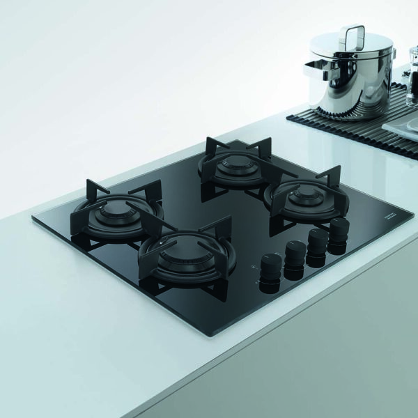 Plita incorporabila Franke Crystal Black FHCR 604 4G HE BK C, 4 arzatoare gaz, 59 x 51 cm, Gratare fonta, Sticla neagra