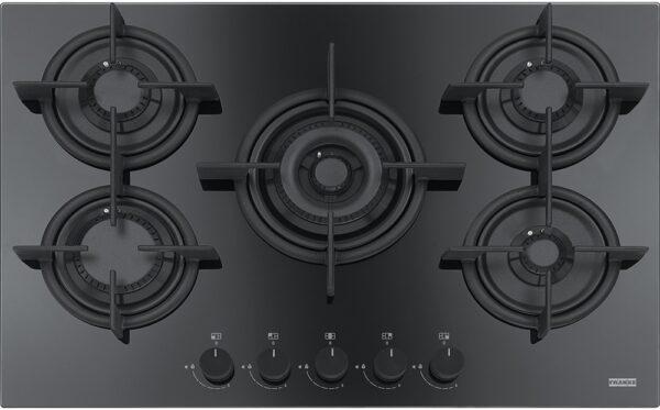 Plita incorporabila Franke Crystal Black FHCR 755 4G TC HE BK C, 5 arzatoare gaz, 75 x 51 cm, Gratare fonta, Sticla neagra