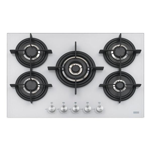 Plita incorporabila Franke Crystal White FHCR 755 4G TC HE WH C, 5 arzatoare gaz, 75 x 51 cm, Gratare fonta, Sticla alba