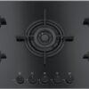 Plita incorporabila Franke Crystal Black FHCR 905 4G TC HE BK C, 5 arzatoare gaz, 88 x 51 cm, Gratare fonta, Sticla neagra