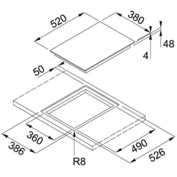 Plita incorporabila Franke Mythos FHMT 302 1 FLEXI INT, 2 zone inductie (1 Flexi), 38 x 52 cm, Touch Control, Sticla neagra