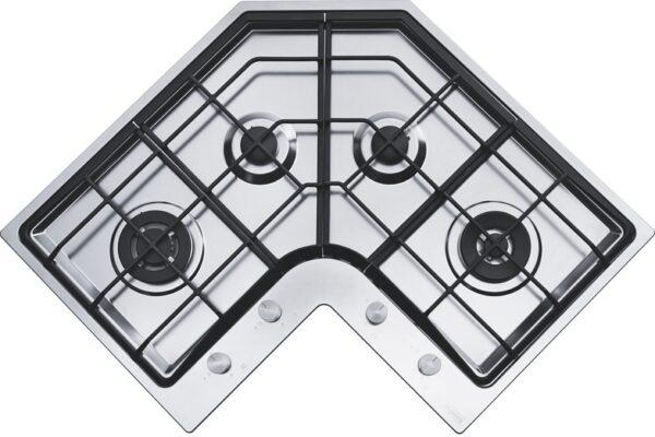 Plita incorporabila Franke Angolo - Neptune FHNE COR 4 3G TC XS C , 4 arzatoare pe gaz , Aprindere electronica, Control frontal, Gratare din fonta, 83x83 cm, Inox
