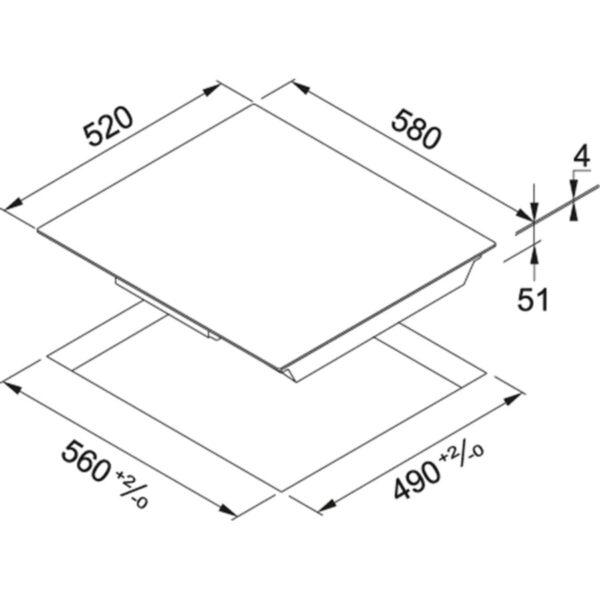 Plita incorporabila Franke Smart FHSM 604 4I BK, 4 zone inductie, 58 x 52 cm, Touch Control, Sticla neagra