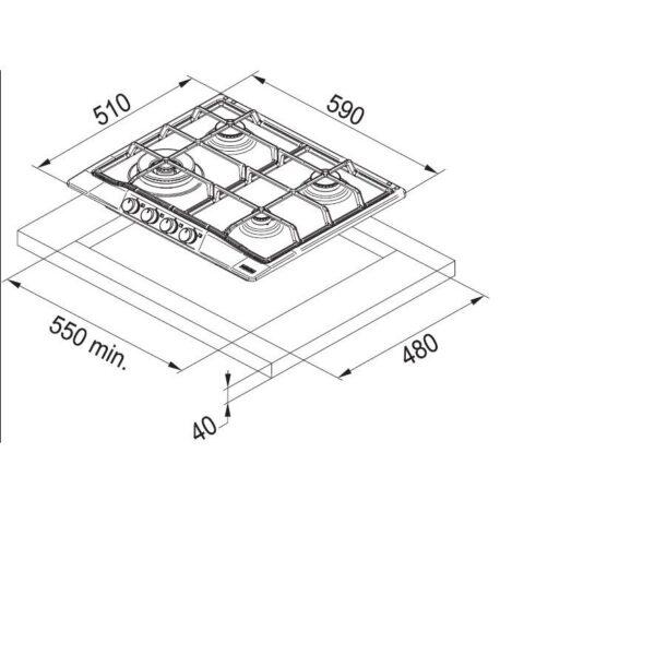 Plita incorporabila Franke Trend Line 600 FHTL 604 4G OA E 6800056, 4 arzatoare gaz, 60 cm, Aprindere electronica la buton, Valva de siguranta, Avena