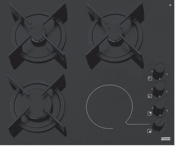 Plita incorporabila Franke Mixt Glass FHX 604 3G 1C BK C, Mixt, 4 zone (3 gaz/1 electric), 59 x 51 cm, Gratare fonta, Butoane lateral dreapta, Sticla neagra