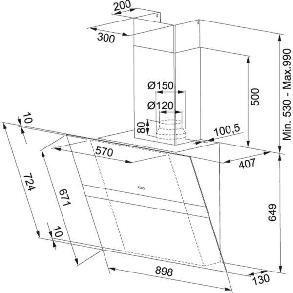 Hota Franke Swing FSW 918 BK XS, Aspirare perimetrica, Intensiv 880 m3/h, 1 motor, L 90 cm, Sticla neagra/Inox 110.0260.660