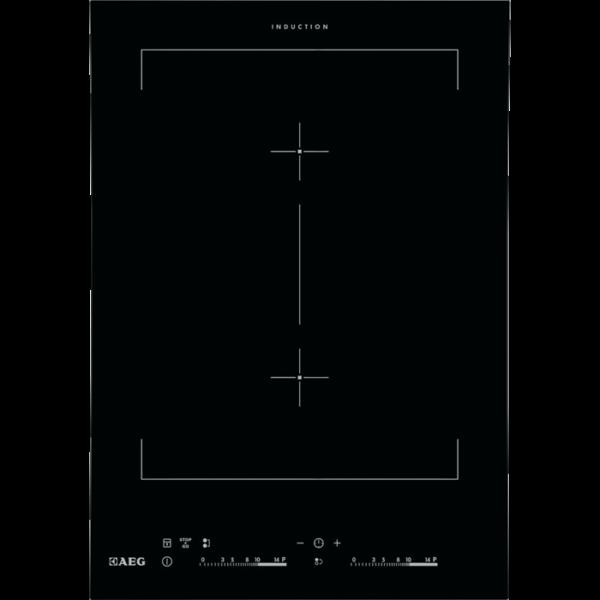 Plita incorporabila AEG Domino Crystal Line HC452401EB, 1 arzator prin inductie, Touch Control, 36 cm, Sticla neagra