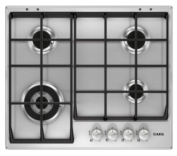 Plita incorporabila AEG Gas HG654550SM, 4 arzatoare gaz, Arzator rapid, Gratare fonta, 60 cm, Panel comanda negru, Inox