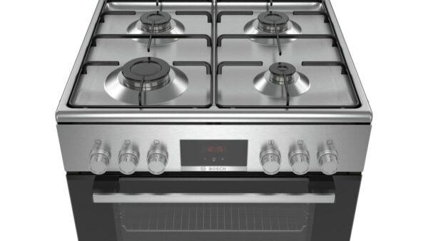 Aragaz Bosch HXN39AD50, Mixt, 4 arzatoare gaz, Cuptor electric, 7 Functii, Display, Inox