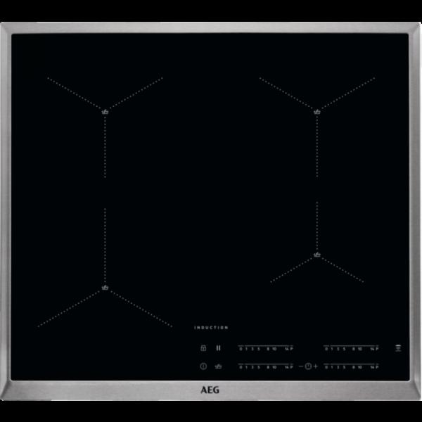 Plita incorporabila cu inductie AEG IAE64413XB, 4 zone de gatit, Conexiune Hob2Hood, 60 cm, Negru