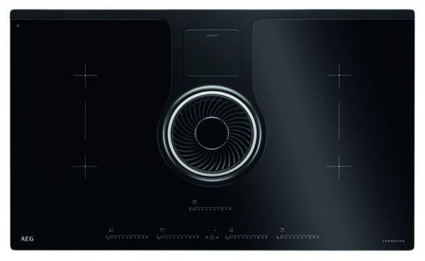 Plita cu hota integrata AEG ComboHob IDK84451IB, Inductie, 83 cm, Control touch, Hota 23 cm , Neagra