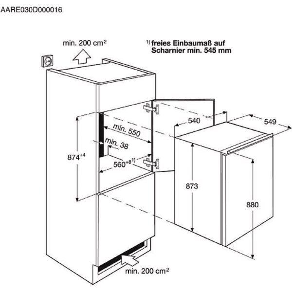 Frigider incorporabil Electrolux ERN1300FOW, 126 l, A+, H 88 cm