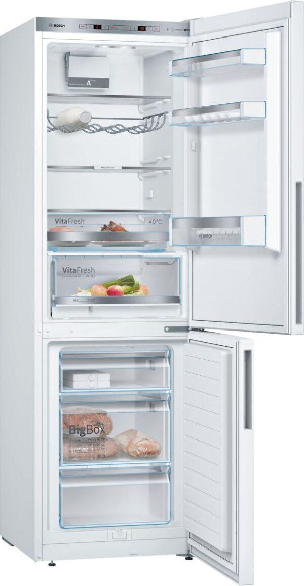 Combina frigorifica Bosch KGE36VW4A, Low Frost, 302 l, A+++, VitaFresh, ChillerBox, H 186 cm, Alb